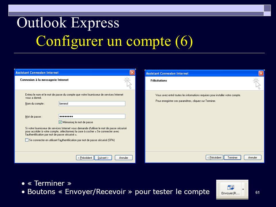 61 Outlook Express Configurer un compte (6) « Terminer » Boutons « Envoyer/Recevoir » pour tester le compte