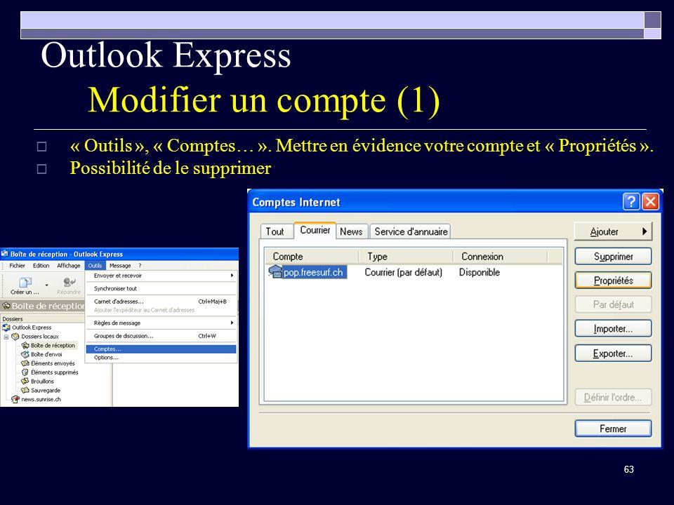 63 Outlook Express Modifier un compte (1) « Outils », « Comptes… ».