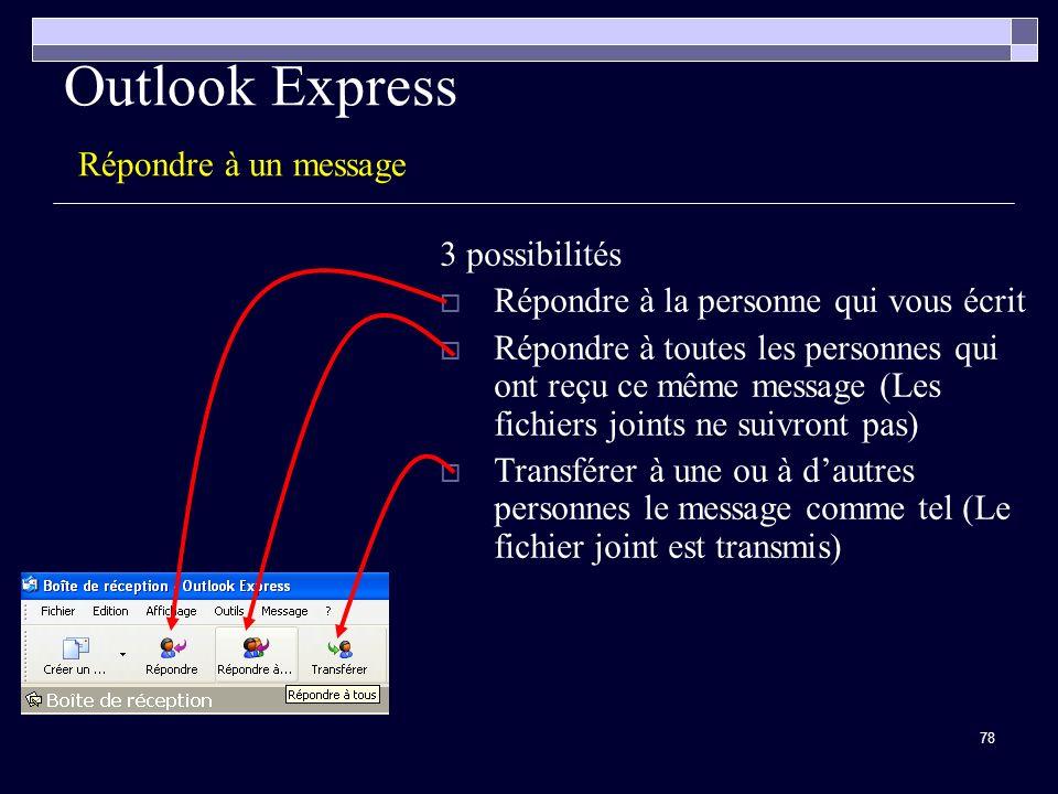 78 Outlook Express Répondre à un message 3 possibilités Répondre à la personne qui vous écrit Répondre à toutes les personnes qui ont reçu ce même message (Les fichiers joints ne suivront pas) Transférer à une ou à dautres personnes le message comme tel (Le fichier joint est transmis)