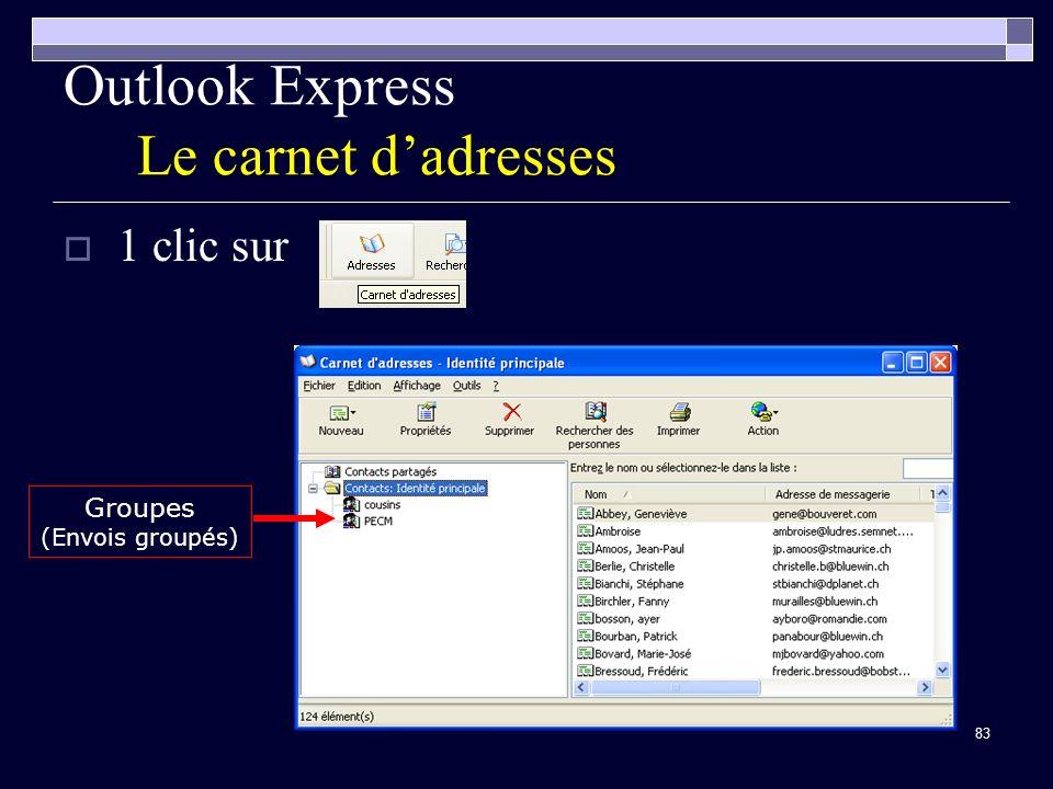 83 Outlook Express Le carnet dadresses 1 clic sur Groupes (Envois groupés)