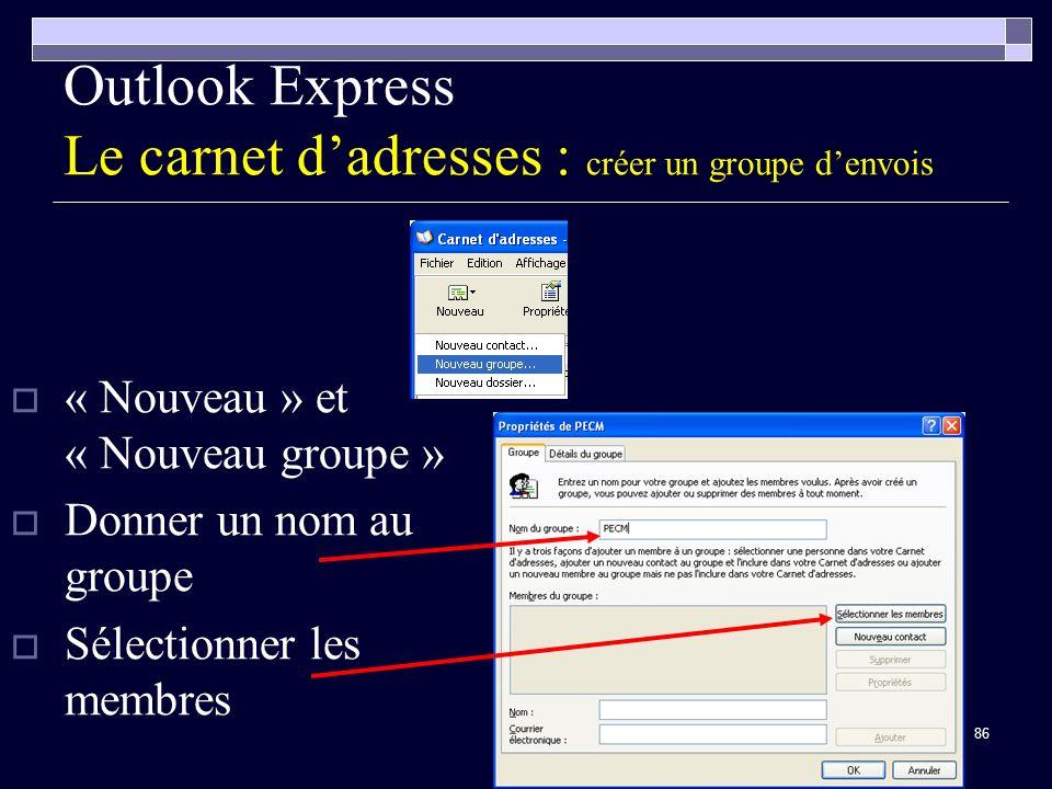 86 Outlook Express Le carnet dadresses : créer un groupe denvois « Nouveau » et « Nouveau groupe » Donner un nom au groupe Sélectionner les membres
