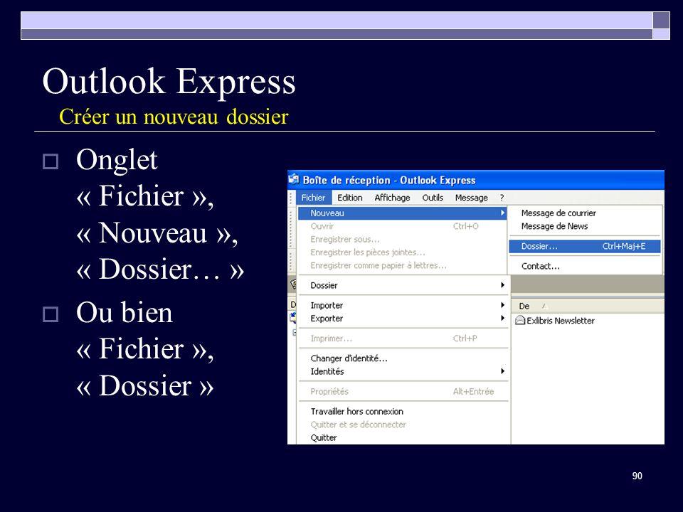 90 Outlook Express Créer un nouveau dossier Onglet « Fichier », « Nouveau », « Dossier… » Ou bien « Fichier », « Dossier »