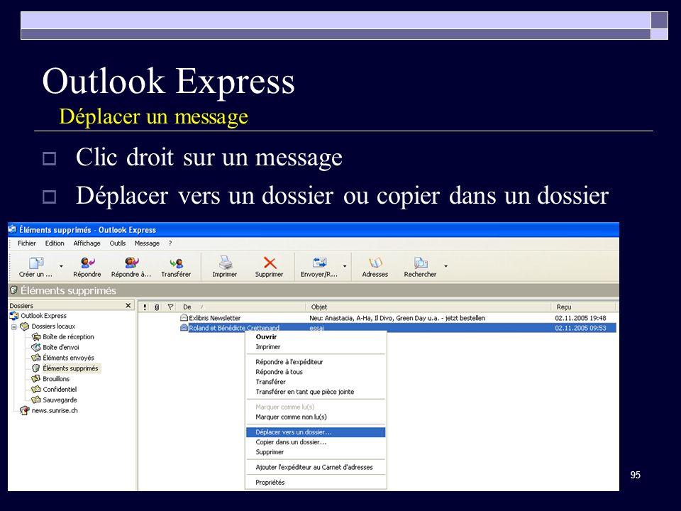 95 Outlook Express Déplacer un message Clic droit sur un message Déplacer vers un dossier ou copier dans un dossier