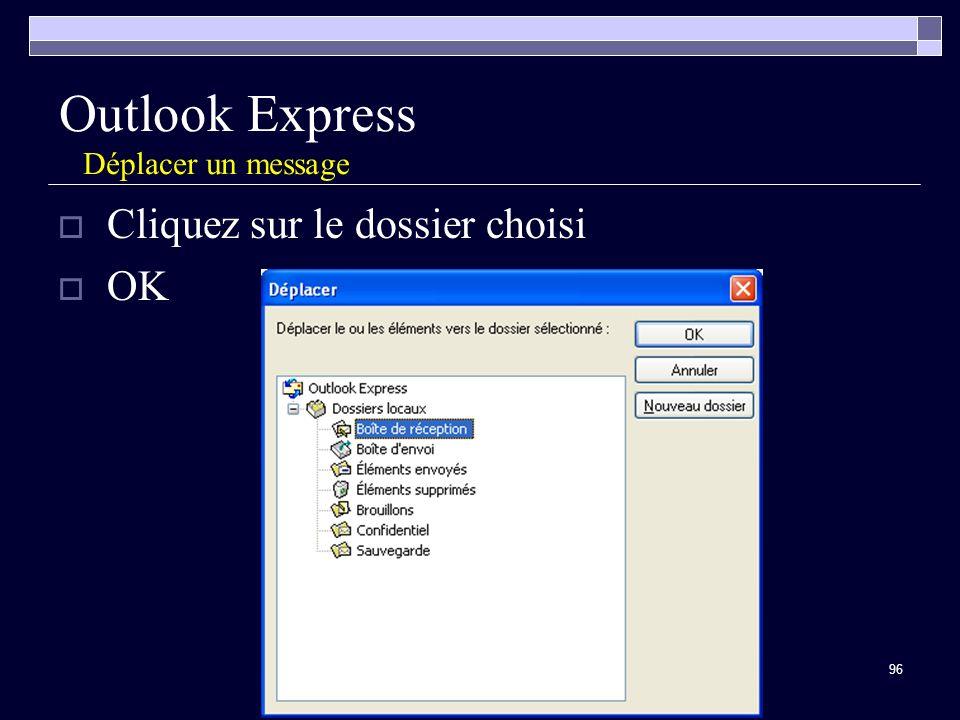 96 Outlook Express Déplacer un message Cliquez sur le dossier choisi OK