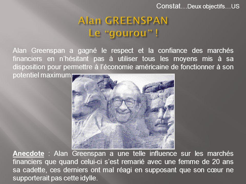 Alan Greenspan a gagné le respect et la confiance des marchés financiers en nhésitant pas à utiliser tous les moyens mis à sa disposition pour permett
