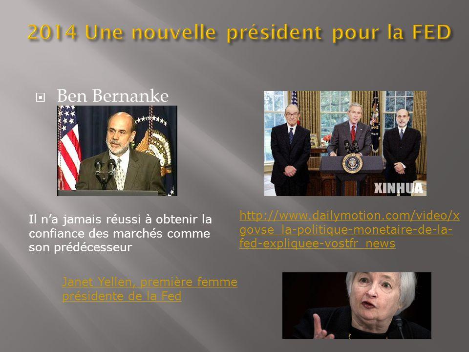 Ben Bernanke Il na jamais réussi à obtenir la confiance des marchés comme son prédécesseur http://www.dailymotion.com/video/x govse_la-politique-monet