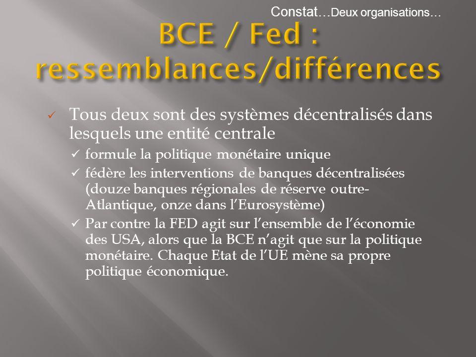 Tous deux sont des systèmes décentralisés dans lesquels une entité centrale formule la politique monétaire unique fédère les interventions de banques