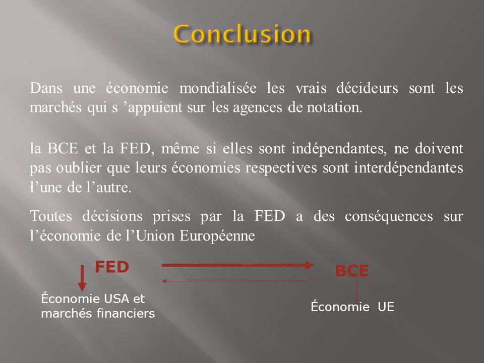 Dans une économie mondialisée les vrais décideurs sont les marchés qui s appuient sur les agences de notation. la BCE et la FED, même si elles sont in