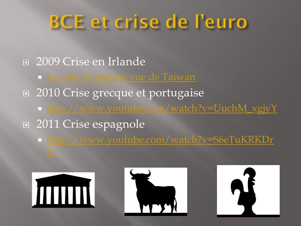 2009 Crise en Irlande La crise irlandaise vue de Taiwan 2010 Crise grecque et portugaise http://www.youtube.com/watch?v=UuchM_xgjyY 2011 Crise espagno