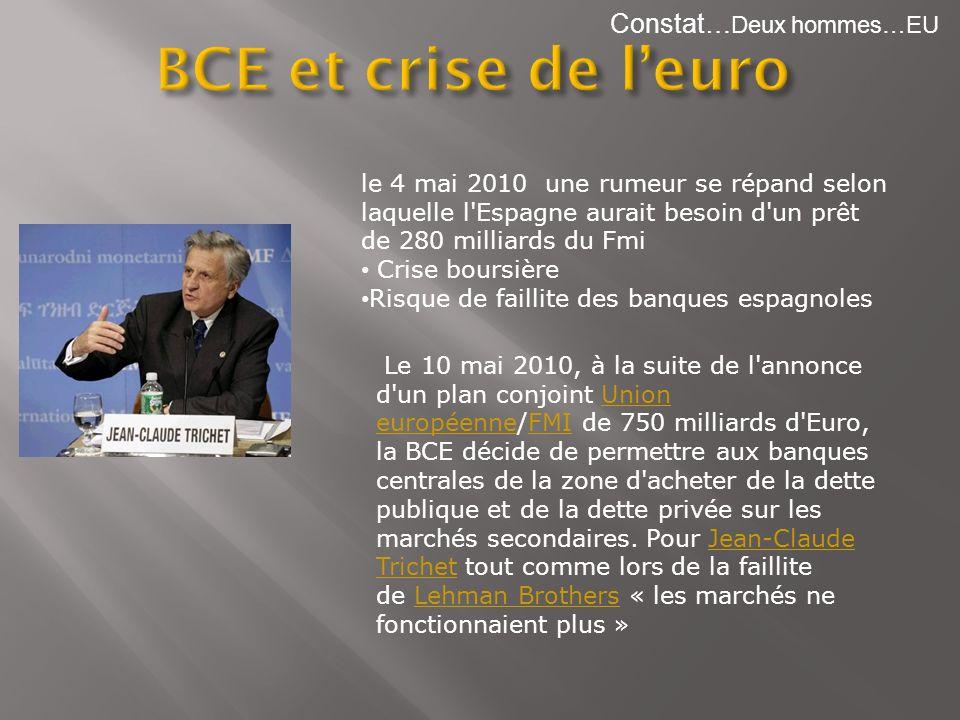 Constat… Deux hommes…EU Le 10 mai 2010, à la suite de l'annonce d'un plan conjoint Union européenne/FMI de 750 milliards d'Euro, la BCE décide de perm