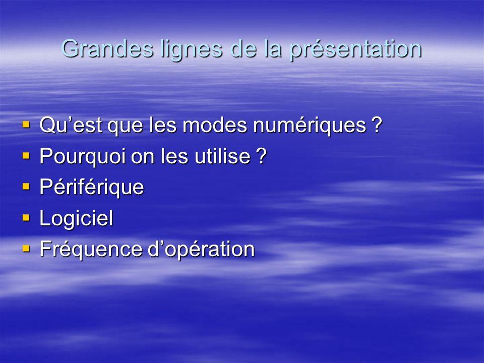 Grandes lignes de la présentation Quest que les modes numériques .