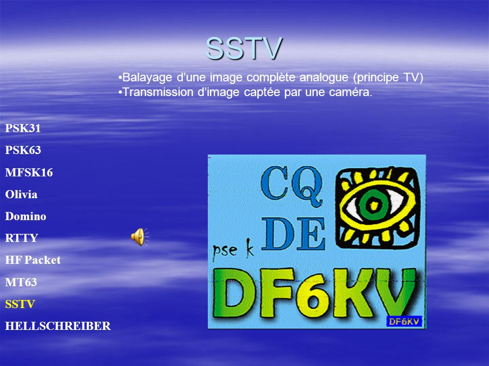 SSTV PSK31 PSK63 MFSK16 Olivia Domino RTTY HF Packet MT63 SSTV HELLSCHREIBER Balayage dune image complète analogue (principe TV) Transmission dimage captée par une caméra.
