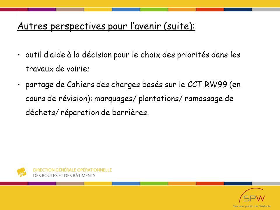 Autres perspectives pour lavenir (suite): outil daide à la décision pour le choix des priorités dans les travaux de voirie; partage de Cahiers des charges basés sur le CCT RW99 (en cours de révision): marquages/ plantations/ ramassage de déchets/ réparation de barrières.