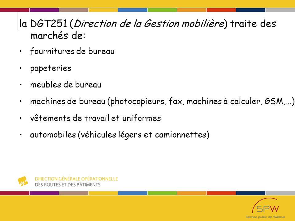 la DGO1.13 (Direction de la coordination des districts routiers) traite du matériel spécifique: gros véhicules utilitaires (16.12.2011) tracteurs de fauchage (8.7.2011) déchiqueteuses de branches (10.12.2010) chargeurs-pelleteuses (27.11.2010) amortisseurs de chocs (30.11.2011) panneaux à messages variables (03.12.2010) flèches lumineuses de rabattement ( 15.01.2011) machines de marquages (27.10.2011)