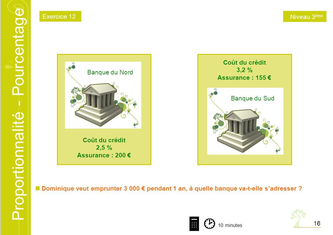 Proportionnalité - Pourcentage Banque du Nord Coût du crédit 2,5 % Assurance : 200 Banque du Sud Coût du crédit 3,2 % Assurance : 155 Dominique veut e