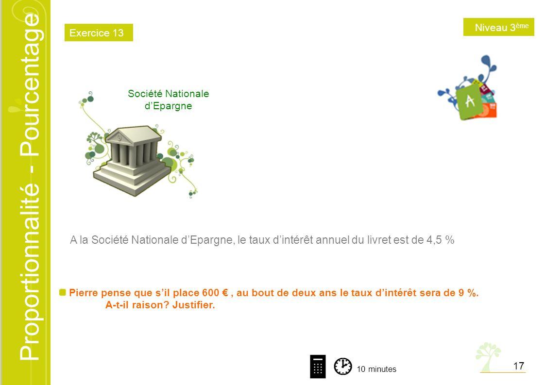 Proportionnalité - Pourcentage Société Nationale dEpargne A la Société Nationale dEpargne, le taux dintérêt annuel du livret est de 4,5 % Pierre pense