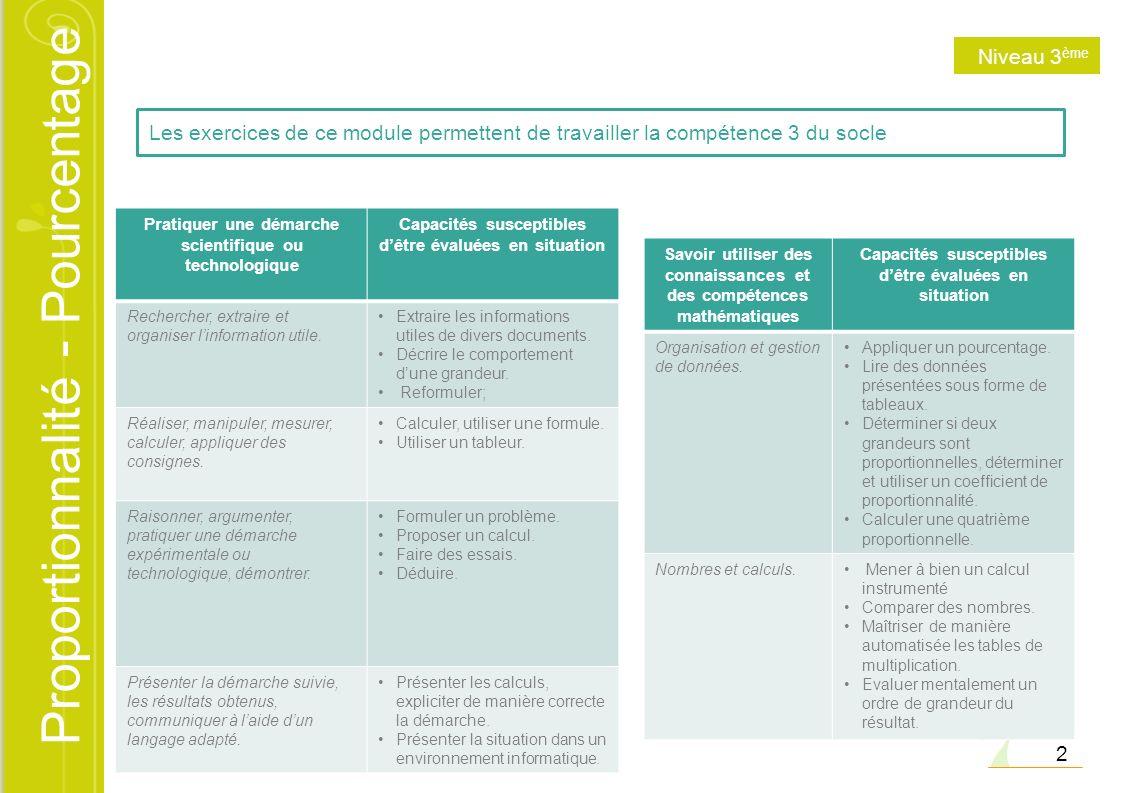 Proportionnalité - Pourcentage 2 Les exercices de ce module permettent de travailler la compétence 3 du socle Pratiquer une démarche scientifique ou t