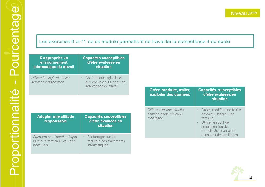 Proportionnalité - Pourcentage 4 Les exercices 6 et 11 de ce module permettent de travailler la compétence 4 du socle Sapproprier un environnement inf