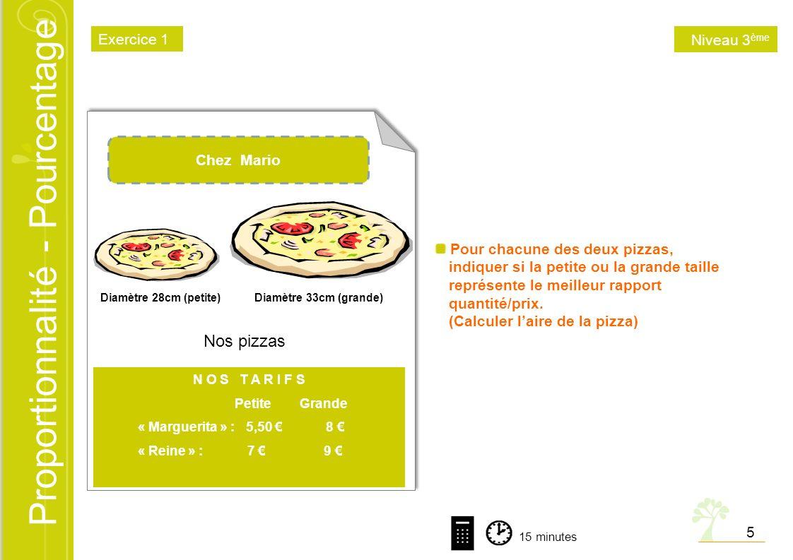 Proportionnalité - Pourcentage Pour chacune des deux pizzas, indiquer si la petite ou la grande taille représente le meilleur rapport quantité/prix. (