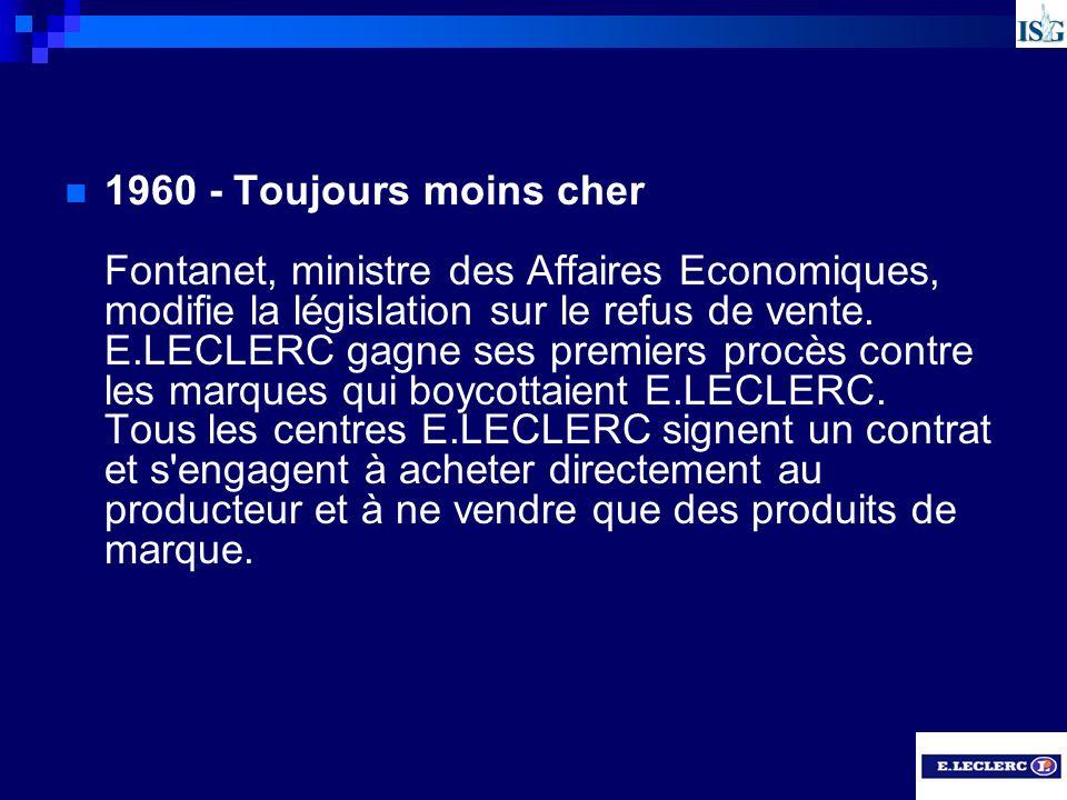 1960 - Toujours moins cher Fontanet, ministre des Affaires Economiques, modifie la législation sur le refus de vente. E.LECLERC gagne ses premiers pro