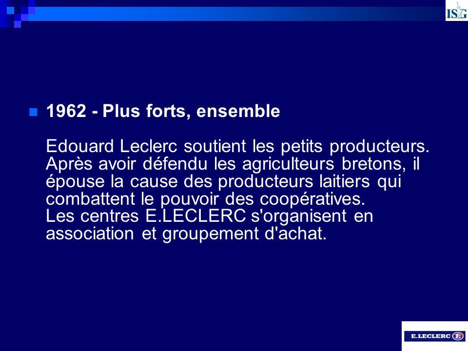 1962 - Plus forts, ensemble Edouard Leclerc soutient les petits producteurs. Après avoir défendu les agriculteurs bretons, il épouse la cause des prod