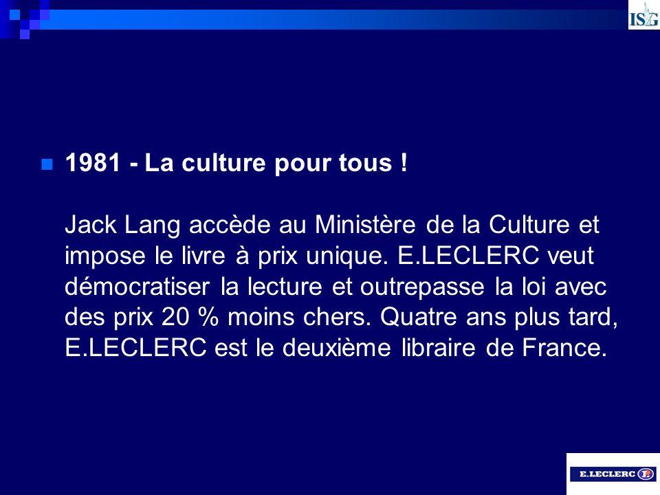 1981 - La culture pour tous ! Jack Lang accède au Ministère de la Culture et impose le livre à prix unique. E.LECLERC veut démocratiser la lecture et