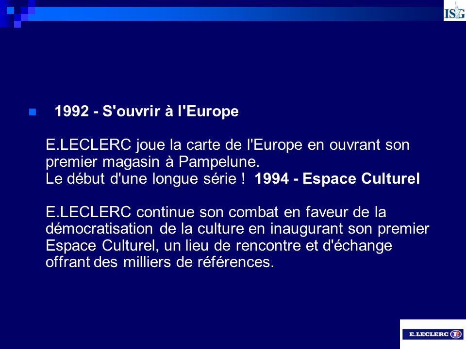 1992 - S'ouvrir à l'Europe E.LECLERC joue la carte de l'Europe en ouvrant son premier magasin à Pampelune. Le début d'une longue série ! 1994 - Espace