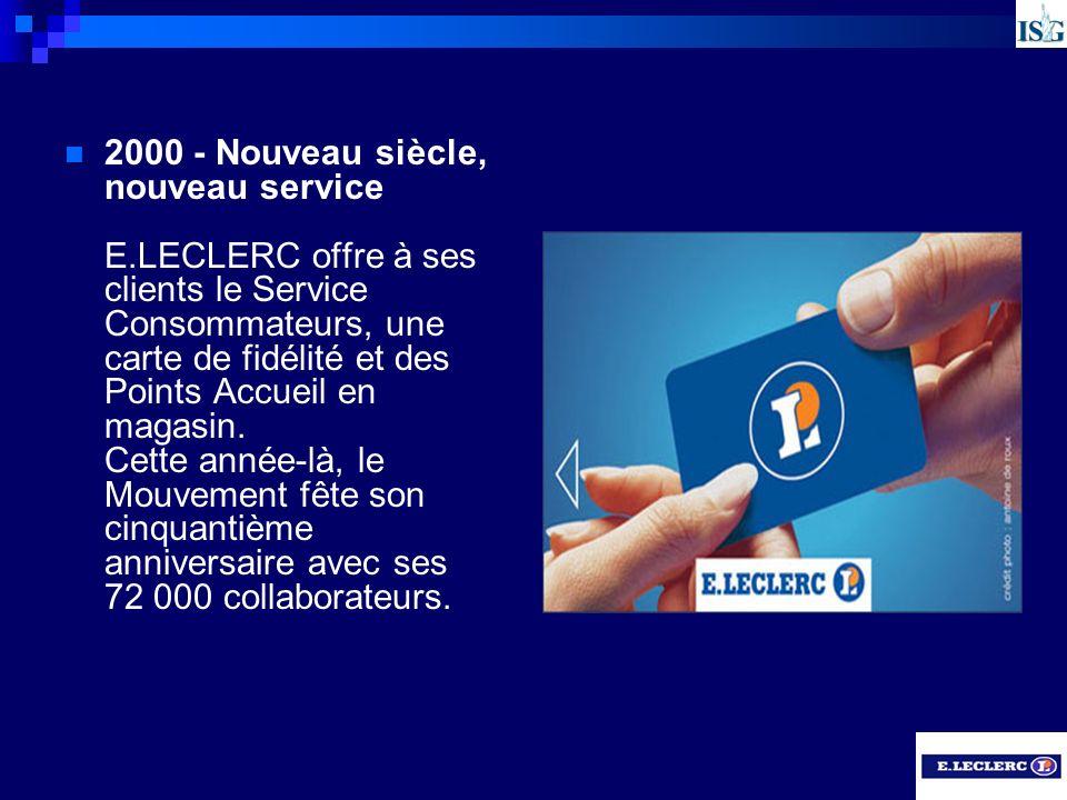 2000 - Nouveau siècle, nouveau service E.LECLERC offre à ses clients le Service Consommateurs, une carte de fidélité et des Points Accueil en magasin.