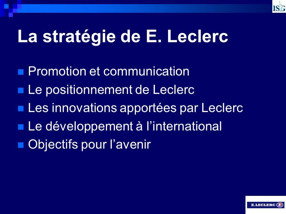 La stratégie de E. Leclerc Promotion et communication Le positionnement de Leclerc Les innovations apportées par Leclerc Le développement à linternati
