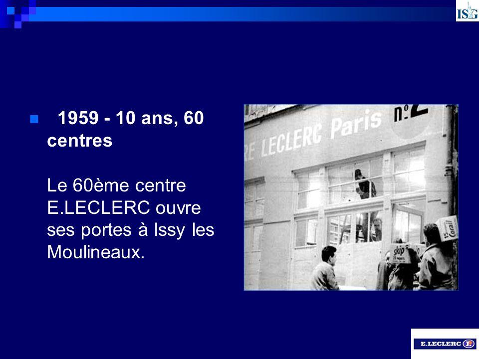 1959 - 10 ans, 60 centres Le 60ème centre E.LECLERC ouvre ses portes à Issy les Moulineaux.