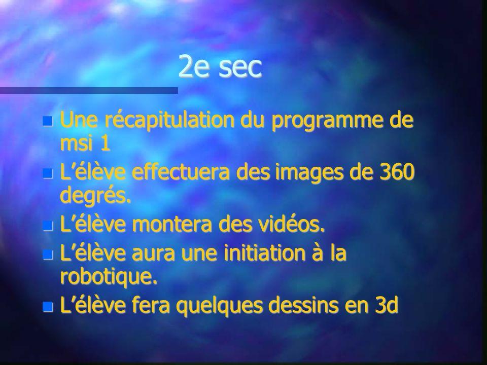 2e sec Une récapitulation du programme de msi 1 Une récapitulation du programme de msi 1 Lélève effectuera des images de 360 degrés. Lélève effectuera
