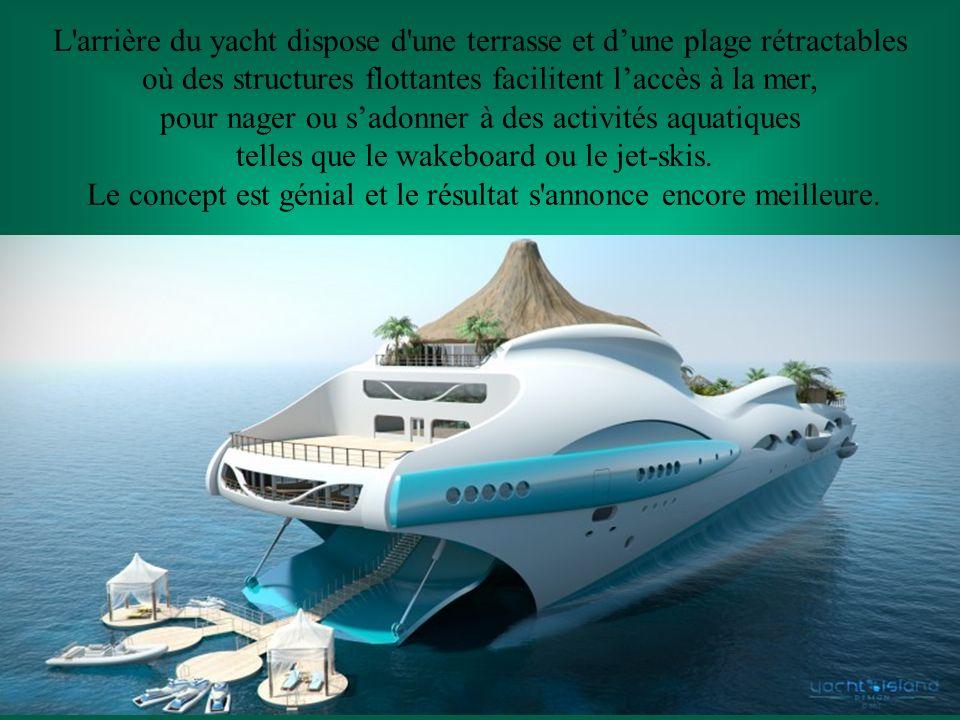 L arrière du yacht dispose d une terrasse et dune plage rétractables où des structures flottantes facilitent laccès à la mer, pour nager ou sadonner à des activités aquatiques telles que le wakeboard ou le jet-skis.