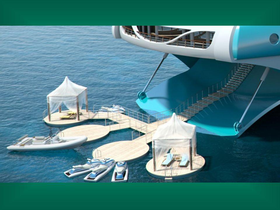L'arrière du yacht dispose d'une terrasse et dune plage rétractables où des structures flottantes facilitent laccès à la mer, pour nager ou sadonner à