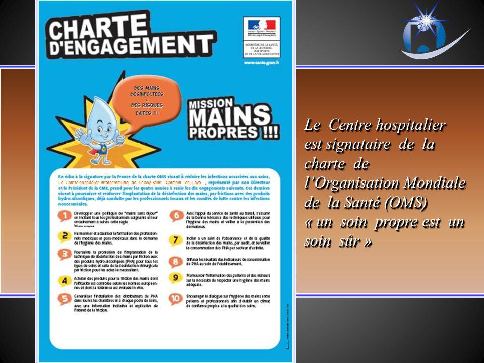 Le Centre hospitalier est signataire de la charte de lOrganisation Mondiale de la Santé (OMS) « un soin propre est un soin sûr » Le Centre hospitalier