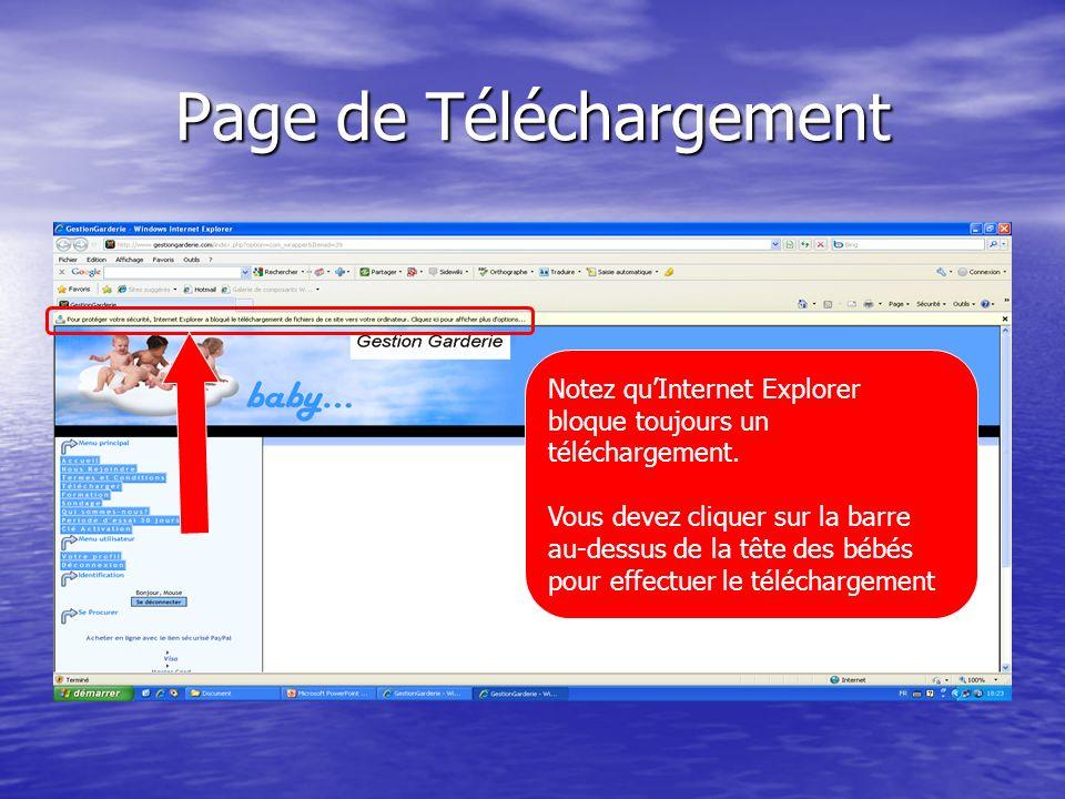 Page de Téléchargement Notez quInternet Explorer bloque toujours un téléchargement.