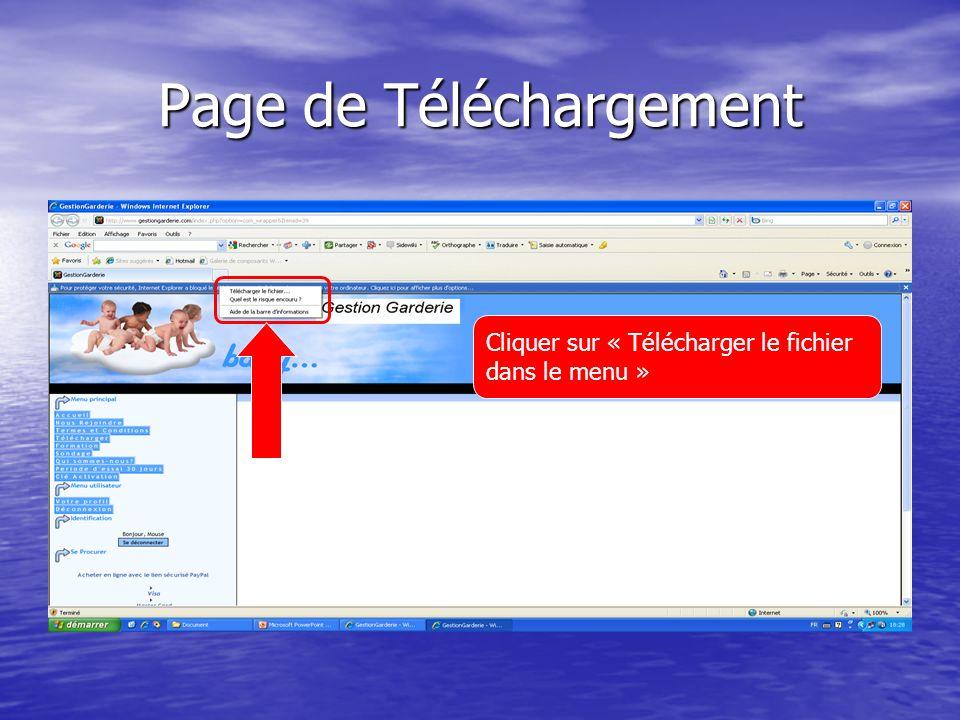 Page de Téléchargement Cliquer sur « Télécharger le fichier dans le menu »