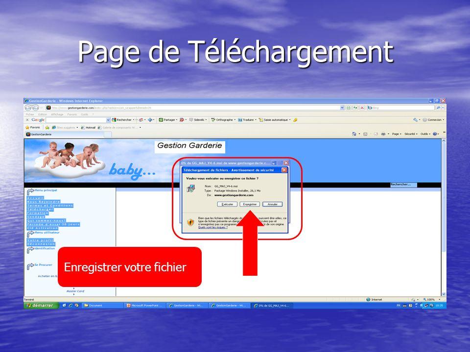 Page de Téléchargement Enregistrer votre fichier