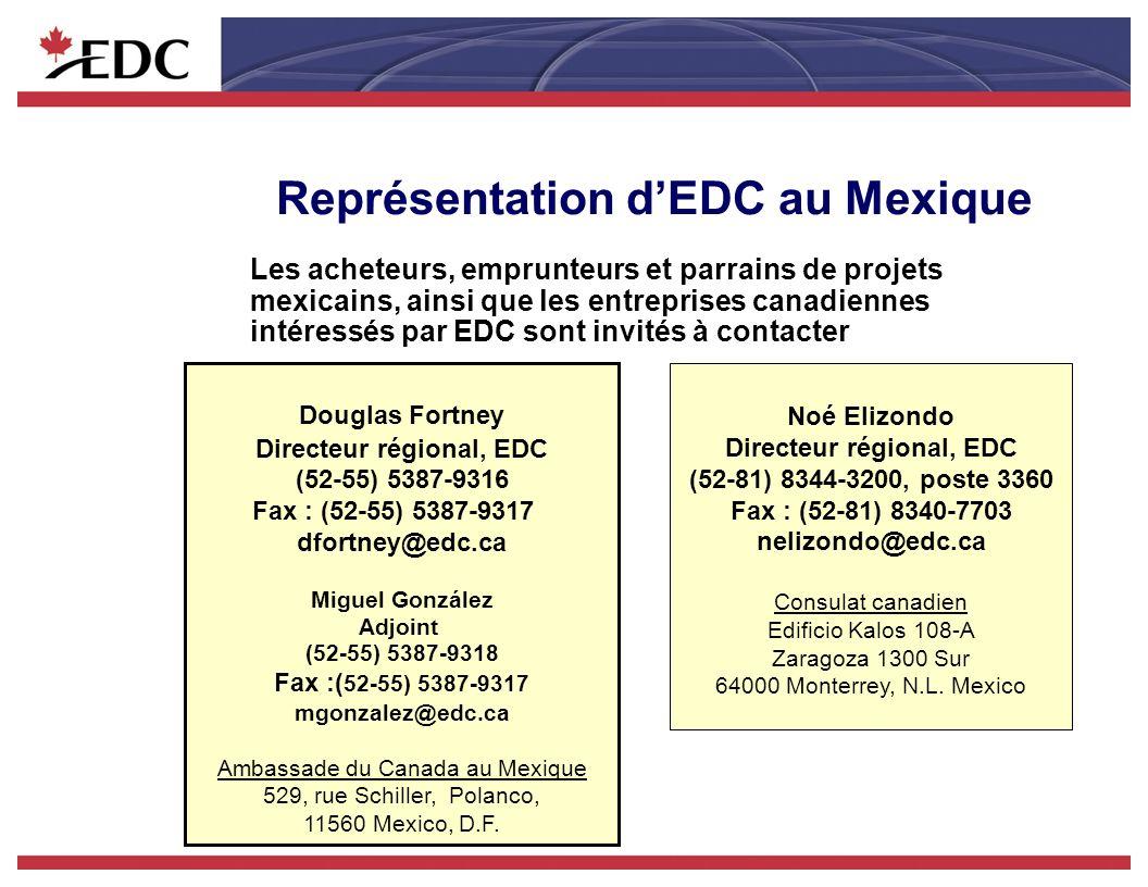 Représentation dEDC au Mexique Les acheteurs, emprunteurs et parrains de projets mexicains, ainsi que les entreprises canadiennes intéressés par EDC sont invités à contacter Douglas Fortney Directeur régional, EDC (52-55) 5387-9316 Fax : (52-55) 5387-9317 dfortney@edc.ca Miguel González Adjoint (52-55) 5387-9318 Fax :( 52-55) 5387-9317 mgonzalez@edc.ca Ambassade du Canada au Mexique 529, rue Schiller, Polanco, 11560 Mexico, D.F.