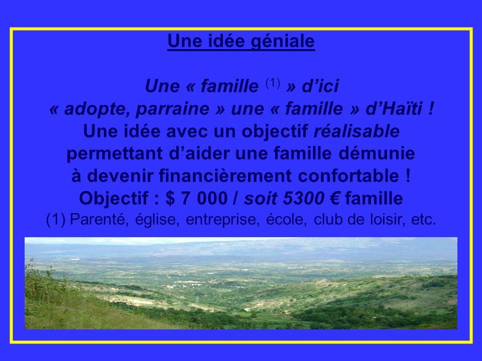 Une idée géniale Une « famille (1) » dici « adopte, parraine » une « famille » dHaïti ! Une idée avec un objectif réalisable permettant daider une fam