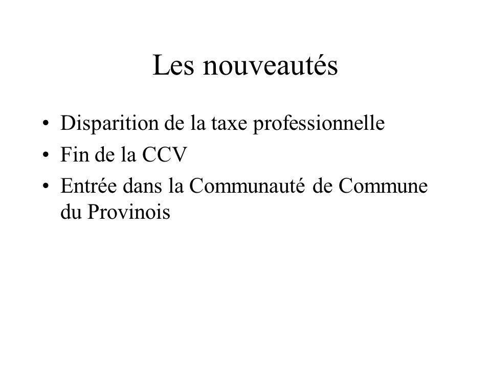 Les nouveautés Disparition de la taxe professionnelle Fin de la CCV Entrée dans la Communauté de Commune du Provinois