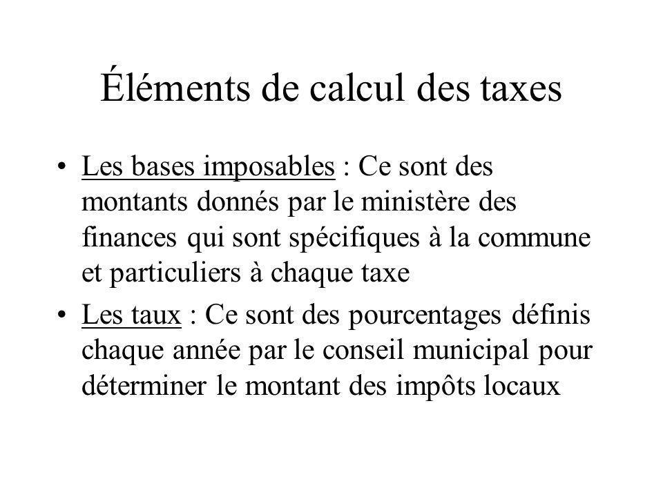 Éléments de calcul des taxes Les bases imposables : Ce sont des montants donnés par le ministère des finances qui sont spécifiques à la commune et par