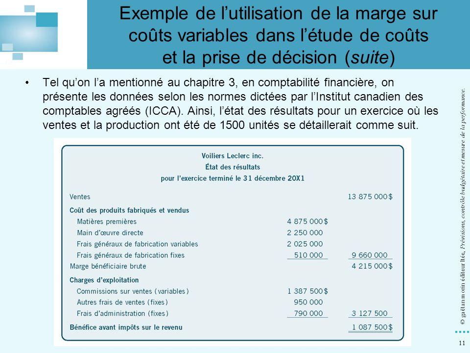 11 © gaëtan morin éditeur ltée, Prévisions, contrôle budgétaire et mesure de la performance. Tel quon la mentionné au chapitre 3, en comptabilité fina