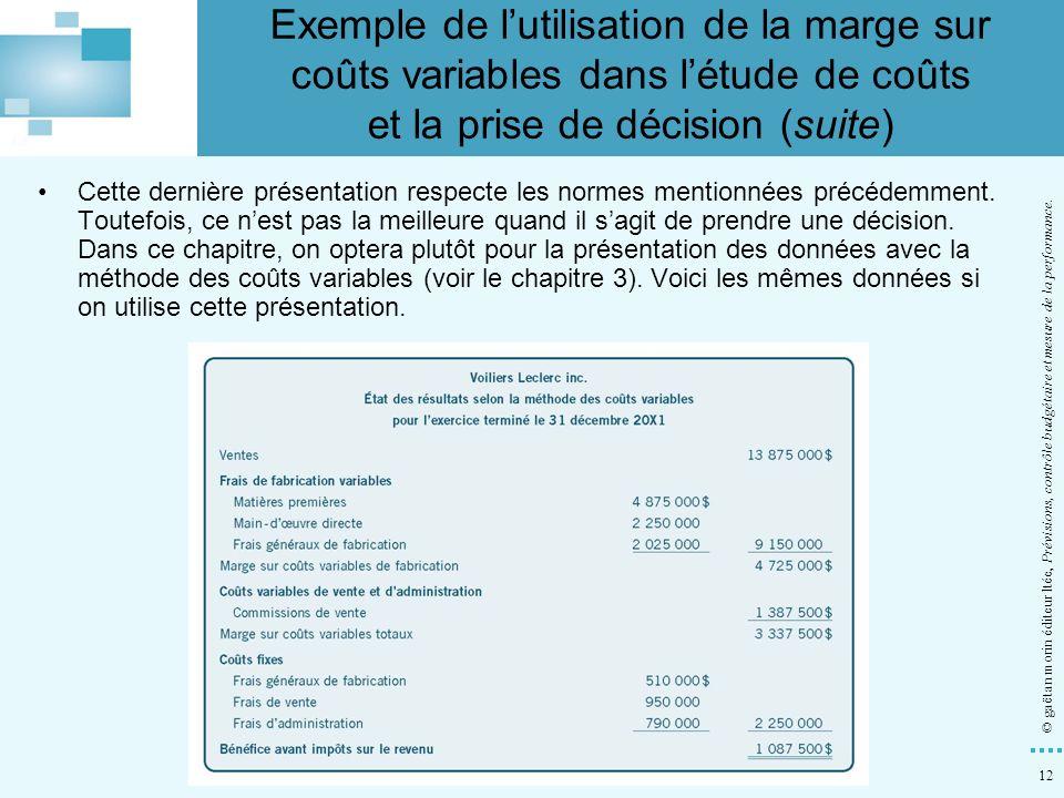 12 © gaëtan morin éditeur ltée, Prévisions, contrôle budgétaire et mesure de la performance. Cette dernière présentation respecte les normes mentionné