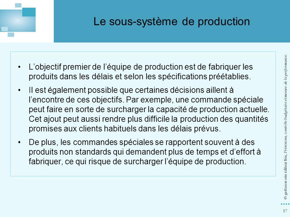 17 © gaëtan morin éditeur ltée, Prévisions, contrôle budgétaire et mesure de la performance. Lobjectif premier de léquipe de production est de fabriqu