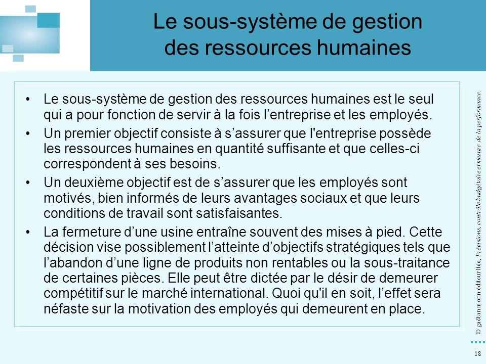 18 © gaëtan morin éditeur ltée, Prévisions, contrôle budgétaire et mesure de la performance. Le sous-système de gestion des ressources humaines est le