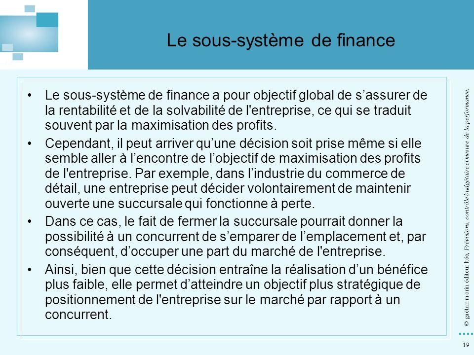 19 © gaëtan morin éditeur ltée, Prévisions, contrôle budgétaire et mesure de la performance. Le sous-système de finance a pour objectif global de sass