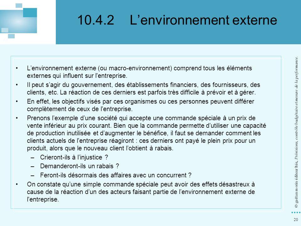 20 © gaëtan morin éditeur ltée, Prévisions, contrôle budgétaire et mesure de la performance. Lenvironnement externe (ou macro-environnement) comprend