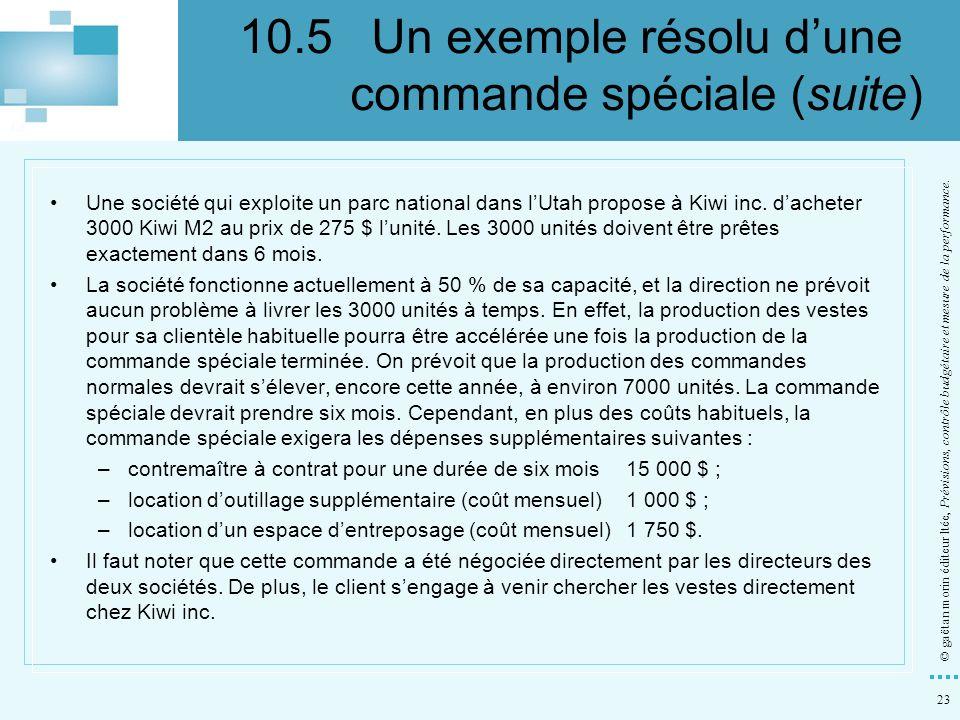 23 © gaëtan morin éditeur ltée, Prévisions, contrôle budgétaire et mesure de la performance. Une société qui exploite un parc national dans lUtah prop