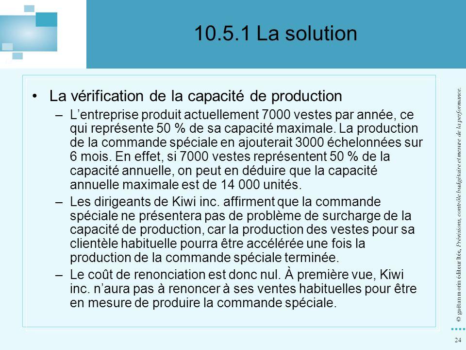 24 © gaëtan morin éditeur ltée, Prévisions, contrôle budgétaire et mesure de la performance. La vérification de la capacité de production –Lentreprise