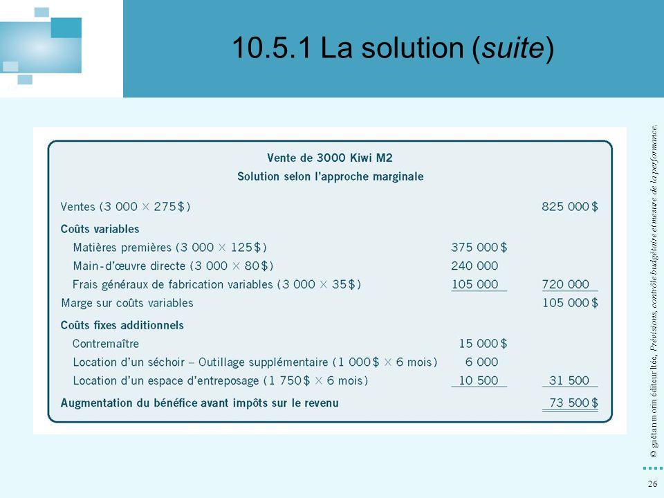 26 © gaëtan morin éditeur ltée, Prévisions, contrôle budgétaire et mesure de la performance. 10.5.1 La solution (suite)